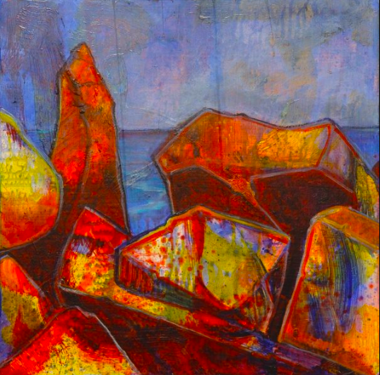 A vibrant oil painting of the breakwater. The rocks are bright orange, red, yellow, and blue. The ocean and sky behind it are a variety of shades of blue and purple.