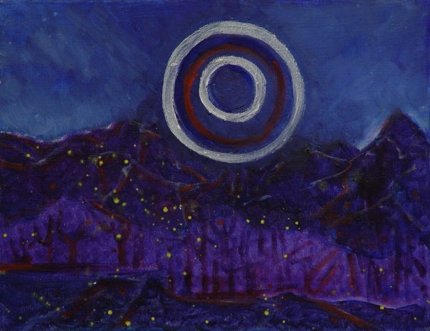 An oil painting of purple mountains under a blue night sky, a yellow scattering of what might be stars or fireflies in the foreground. Above the mountains are a series of concentric circles in white and red.